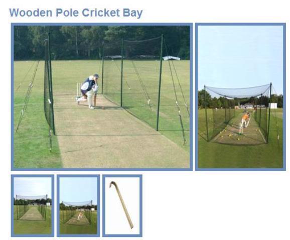 Single bay cricket net;12yd.wing x 9ft
