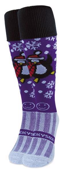 Wacky Sox Perky Penguin Purple