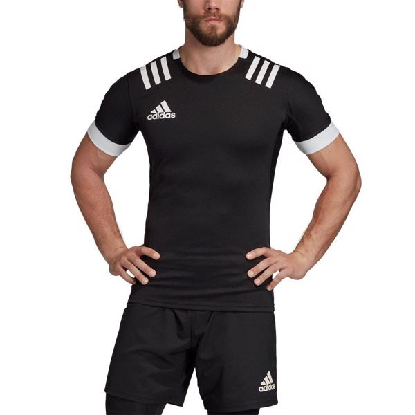 adidas 3 Stripe Fitted Rugby Jersey BL