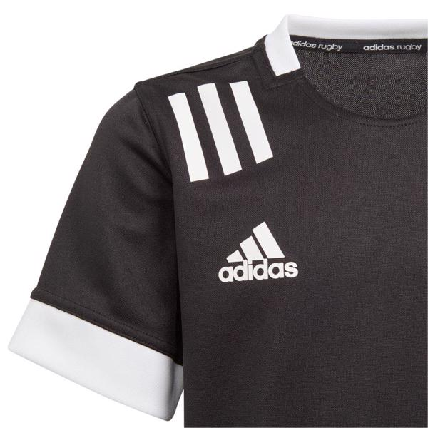 adidas 3 Stripe Rugby Jersey BLACK/WHITE