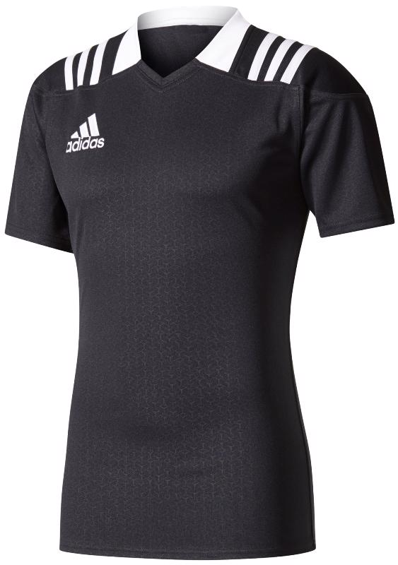 adidas 3 Stripes Fitted Rugby Jersey BLACK