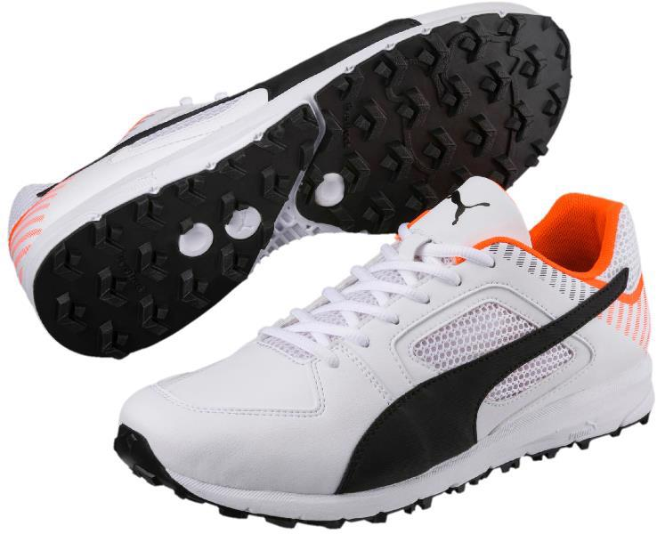 Puma Team Rubber Cricket Shoes WHITE/ORANGE