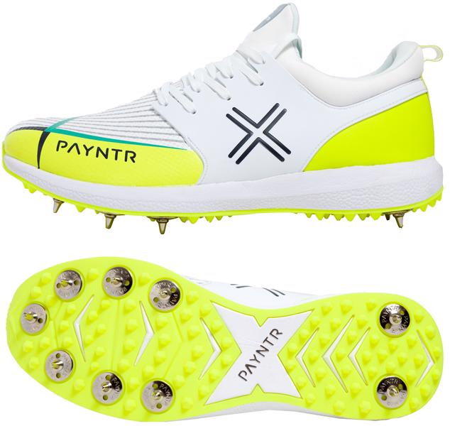 Payntr X-MK2 Spike Cricket Shoes WHITE/YELLOW