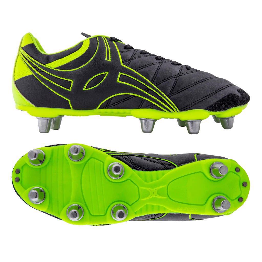 Gilbert Sidestep X9 8S Rugby Boots BLACK/NEON