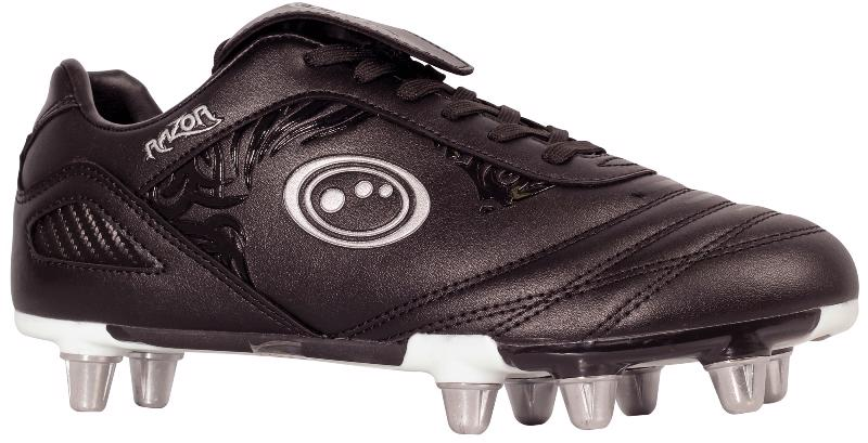 Optimum Razor 8 Stud Rugby Boots BLACK/SILVER