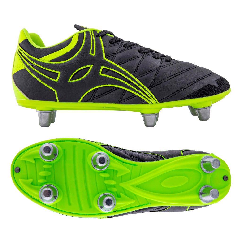 Gilbert Sidestep X9 Rugby Boots BLACK/NEON, JUNIOR