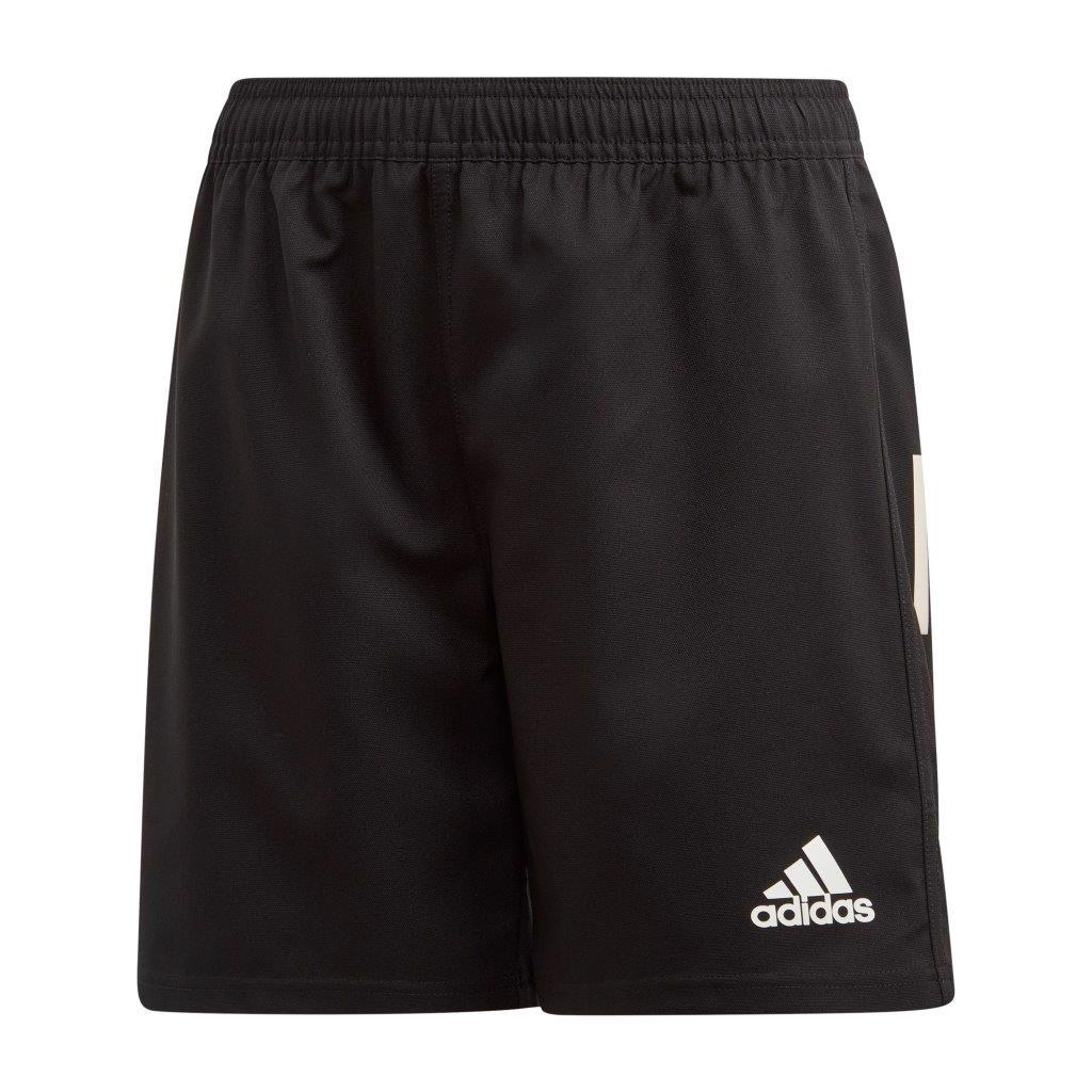adidas 3 Stripe Rugby Shorts JUNIOR, BLACK/WHITE